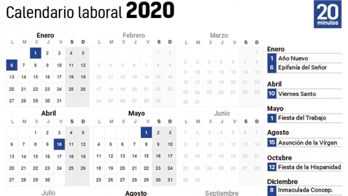 Calendario Laboral 2020 Días Festivos Puentes Y Semana Santa