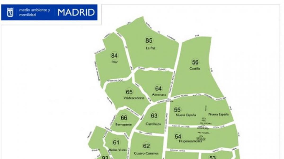 Mapa Zona Azul Y Verde Madrid.Mapa De La Zona Ser De Madrid Horarios Precios Y Zonas De