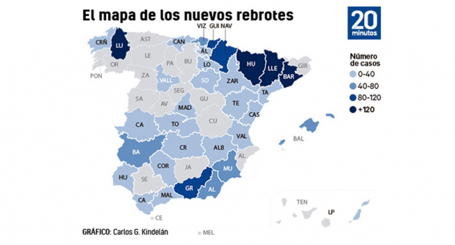 Mapa de los rebrotes de coronavirus en España a 13 de julio.