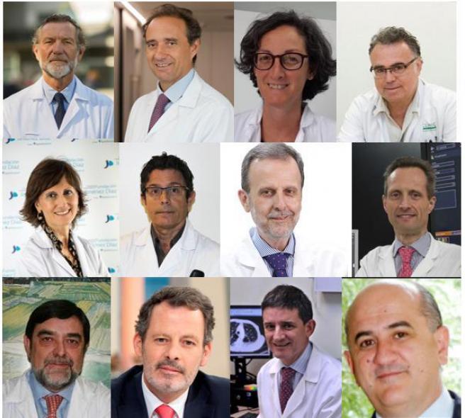 Doce de los mejores médicos según 'Best Doctors Spain', de izquierda a derecha: Dr. Charte; Dr. Arroyo, Dra. Martín, Dr. Vieta, Dra. Llamas, Dr. Álvarez-Linera, Dr. Gamboa, Dr. García-Foncillas, Dr. Argente, Dr. Cabrera, Dr. Echave-Sustaeta y Dr. De la Calle.
