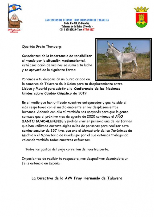 Carta enviada por la Asociación Fray Hernando de Talavera greta Thunberg.