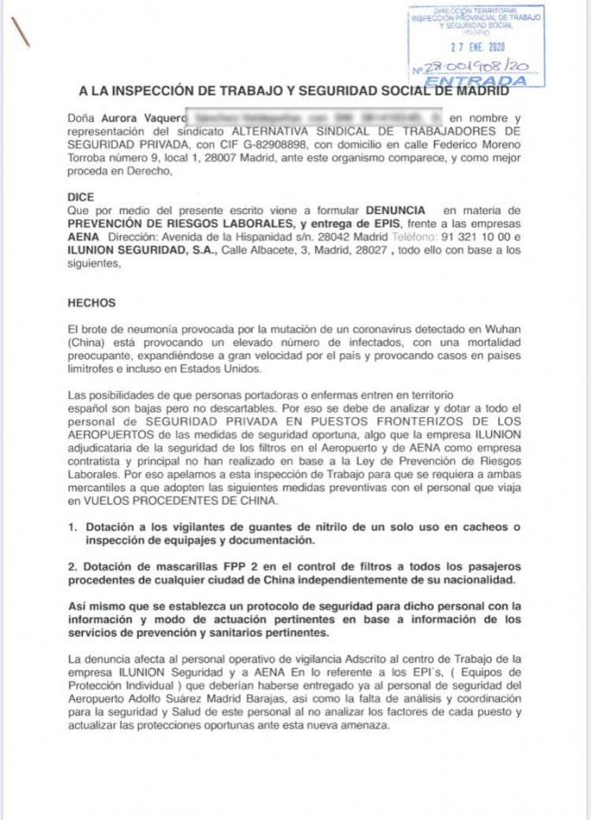 Imagen de la denuncia ante la Inspección de Trabajo contra Ilunion y contra Aena.