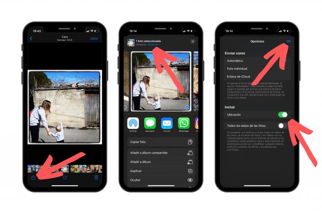 Pasos a seguir para eliminar la ubicación antes de compartir tus fotos en iPhone.