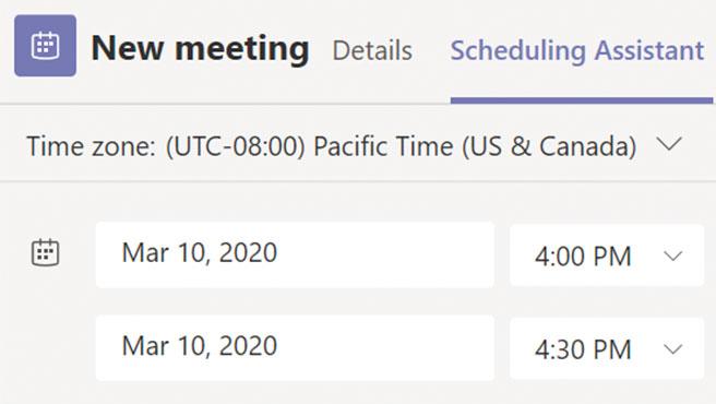 Hay que indicar un intervalo de tiempo al programar una reunión.