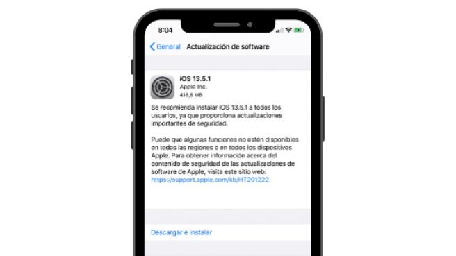Mensaje de la nueva actualización de iOS 13.5.1.