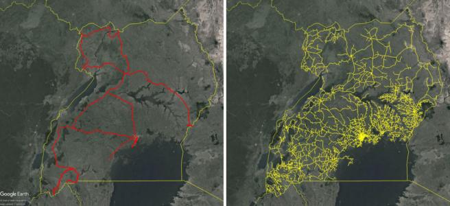 Mapas de Uganda que comparan la extensión de la huella total de fibra (que se muestra en rojo) y las líneas eléctricas de MT (que se muestran en amarillo).