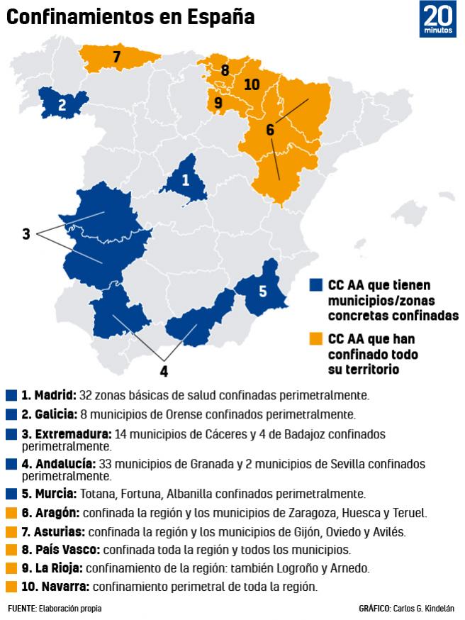 Confinamientos en España.