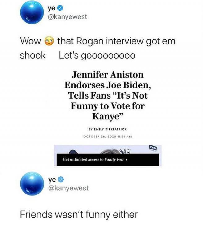 Tuit de Kanye West sobre Jennifer Aniston.