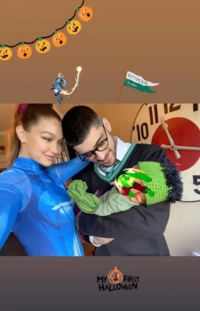 Gigi Hadid y Zayn Malik, con su recién nacida, en Halloween.