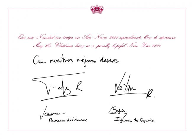 Mensaje de felicitación de los reyes Felipe y Letizia y sus hijas, la princesa Leonor y la infanta Sofía.