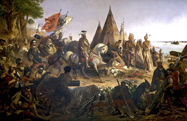 Descubrimiento del Mississippi por Hernando de Soto, cuadro expuesto en la Rotonda de El Capitolio