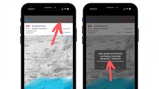 La aplicación permite al usuario informar de si ha sentido el seísmo.