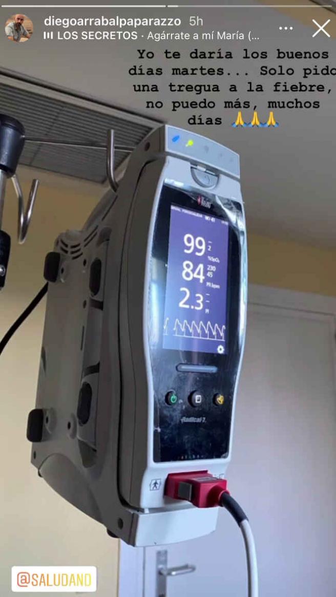 Diego Arrabal publica una imagen desde el hospital.
