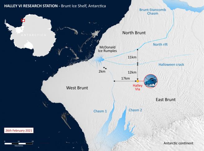 Mapa de la plataforma de hielo de Brunt y la estación de investigación Halley.