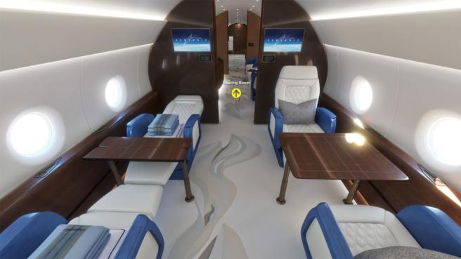 Este avión supersónico contará con dos suites, muebles de lujo y dos baños.