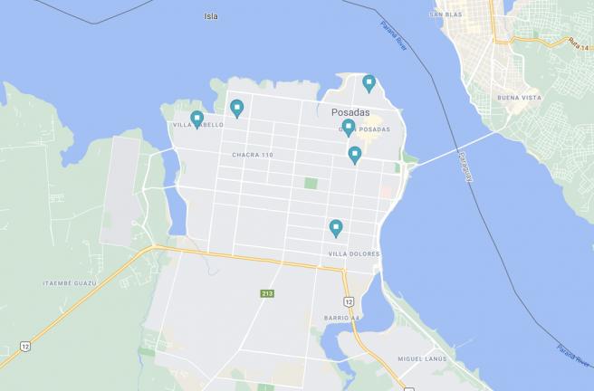 Mapa de la lista de centros de reciclaje de Karol en Posadas.