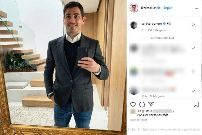 Comentario de Sara Carbonero a Iker Casillas en Instagram.