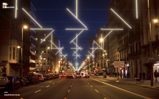 Simulación de luces navideñas en la calle Aragó de Barcelona, con sus estrellas vistas desde lejos.