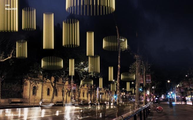 Simulación de las luces de Navidad 2021 de la Gran Vía de Barcelona, con sus luces LED.