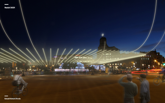 Simulación de luces navideñas en Plaza Catalunya, con las luces LED colocadas radialmente.