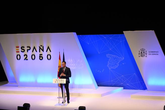 Pedro Sánchez, presidente del Gobierno, durante el acto de presentación de 'España 2050'.