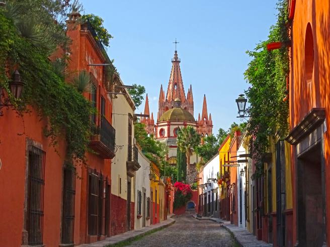 A street in San Miguel de Allende, Guanajuato.
