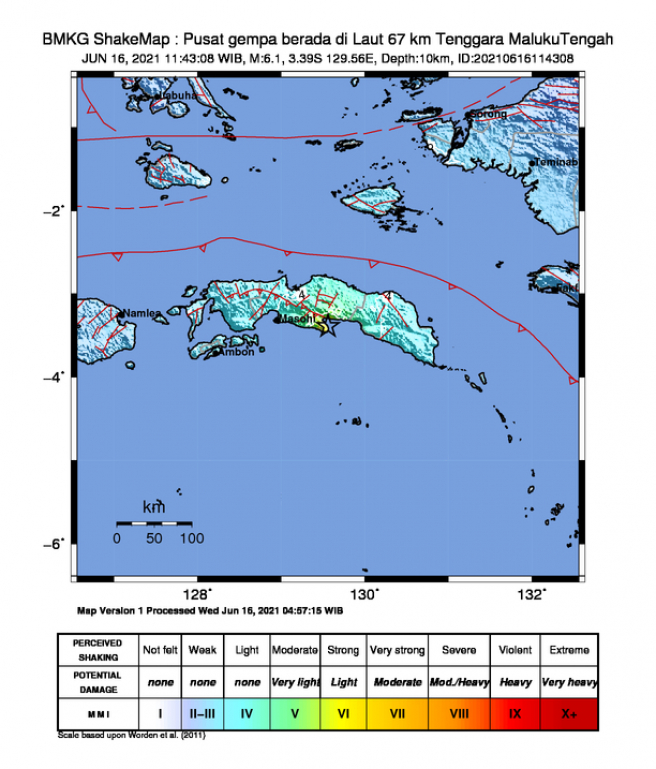 Terremoto en las islas Molucas (Indonesia).