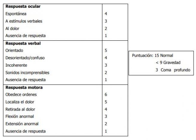 Escala de coma de Glasglow, empleada por profesionales sanitarios para evaluar el estado de conciencia de una persona accidentada.