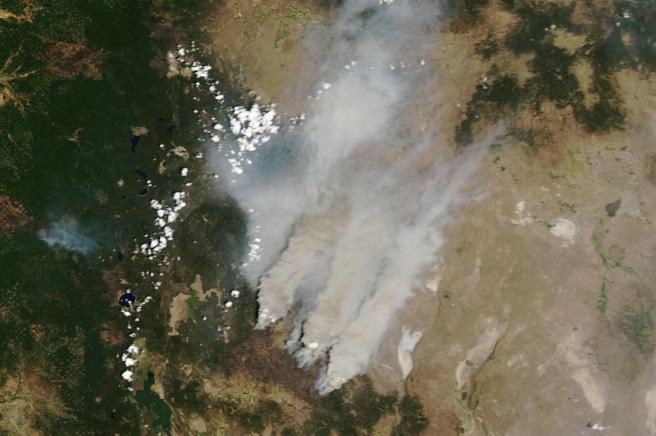 Columnas de humo generadas por el incendio 'Bootleg', en Oregón (EE UU), en una imagen de satélite.