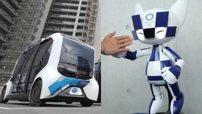 A la izquierda el coche, a la derecha el robot que recibe a los deportistas.
