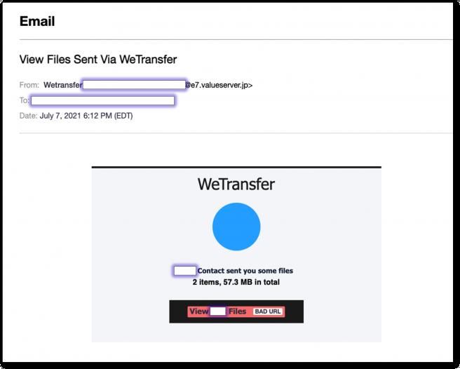 Correo electrónico falsificado de una notificación de intercambio de archivos de WeTransfer.