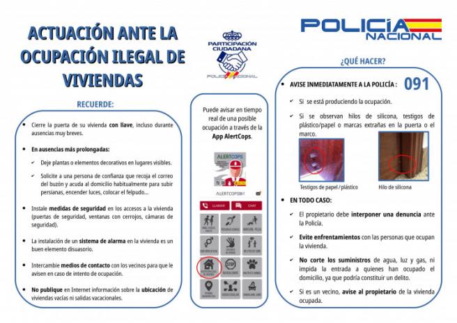 Guía de la Policía Nacional para prevenir la ocupación ilegal de la vivienda