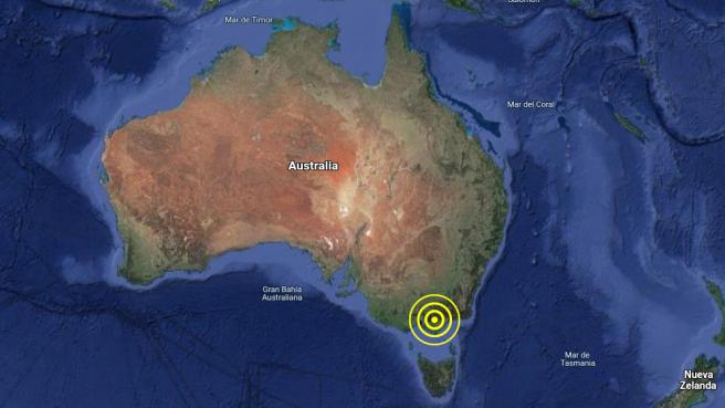 Localización del terremoto de magnitud 5,9 registrado en Australia, cerca de Melbourne.