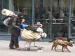 Un hombre sin hogar y sus perros