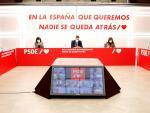 Comisión Ejecutiva Federal del PSOE, reunida este lunes de forma telemática.