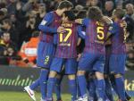 El Barcelona celebra ante Osasuna.