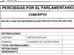 """Arriba, lo que Rajoy declaró al Congreso en concepto de """"dietas y gastos de representación"""" del año 2010. Abajo, el desglose de las retribuciones declaradas ese mismo ejercicio, tanto del PP como del Congreso de los Diputados."""