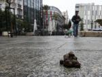 Un excremento canino, abandonado por el dueño de un perro en la plaza Vázquez de Mella de Madrid.