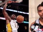 Dos imágenes que resumen las dos caras de Andrew Bynum: machacando con los Lakers y respondiendo a los medios con un peculiar peinado en su etapa en Philadelphia.