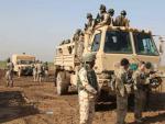 Soldados iraquíes en un entrenamiento con militares españoles y estadounidenses en la base de Besmayah.