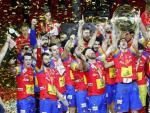 La selección española de balonmano celebra su victoria en el Europeo de Croacia.