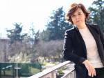 La vicepresidenta del Gobierno, Soraya Sáenz de Santamaría, en el balcón de su despacho.