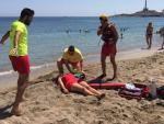 Imagen de un simulacro de rescate de un ahogado en Cartagena.