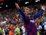 Griezman celebra uno de sus primeros goles con el Barça