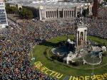 Imagen aérea de la manifestación por la Diada.