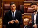 Pedro Sánchez (i) y Gabriel Rufián (ERC), en el Congreso.