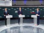 Pablo Casado (PP), Pedro Sánchez (PSOE), Albert Rivera (Cs) y Pablo Iglesias (Unidas Podemos), momentos antes del debate electoral en RTVE.