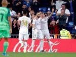 El Real Madrid celebra un gol ante el Leganés