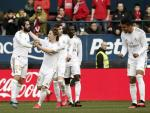 El Real Madrid celebra un gol ante Osasuna.