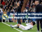 Los de Zidane iban ganando 1-0 hasta que Gabriel Jesús y De Bruyne remontaron. Ramos fue expulsado y se perderá el partido de vuelta.
